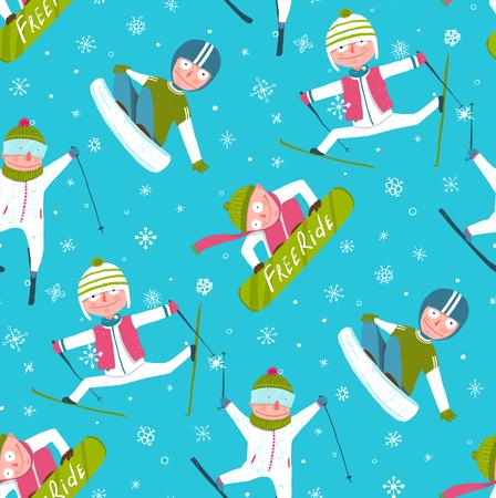 snowboarder: Funky Skier Snowboarder Winter Sport Cartoon Seamless Pattern Background.