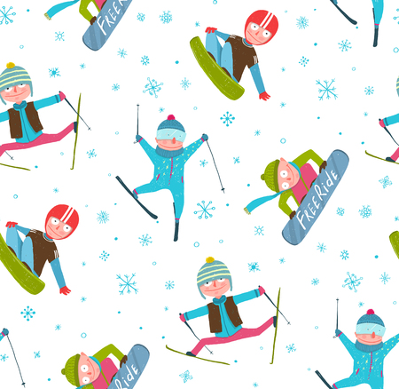 Skier Snowboarder Winter Sport Cartoon Seamless Pattern Background.  Illustration