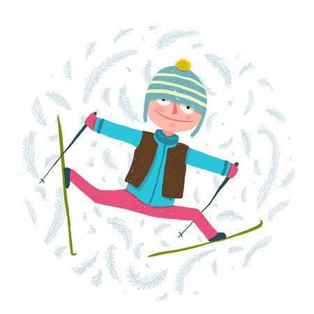 clothes cartoon: Funny Colorful Skier Exercising in Winter Clothes Cartoon.