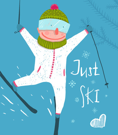 hand drawn cartoon: Skier Funny Free Rider Jump Fun Poster Design.