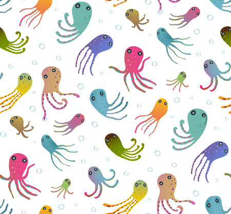 Colorful Kids Cartoon Octopus Seamless Pattern Background. Childish animals cute backdrop tileable design illustration. Vector EPS10 has no backround color.