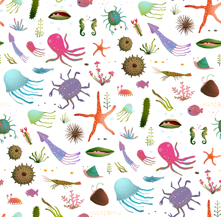 backdrop: Colorful Kids Cartoon Sea Life Seamless Pattern Background on White. Childish underwater animals cute backdrop tileable design illustration. Vector EPS10 has no backdrop color.