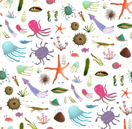cangrejo caricatura: Sea Life inconsútil colorido de la historieta de los niños del modelo del fondo en blanco. animales bajo el agua era de niño lindo contexto diseño enlosables ilustración. Ilustración de EPS10 no tiene color telón de fondo. Vectores