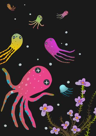 invertebrate: Colorful Octopus on Black Cartoon Greeting Card Design. Under the sea deep and dark marine life cute cartoon illustration. Vector EPS10.