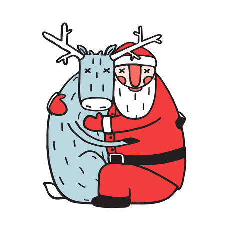 hugging: Character Santa Claus Hug with Deer. Character Santa Claus hug with deer. Holiday christmas and new year, winter celebration, reindeer xmas, vector illustration