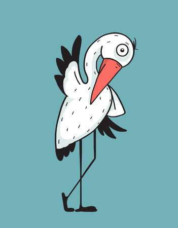 beak: Stork Bird Character Illustration for Kids. Bird stork flat design. Mascot and wing, nature and beak, wildlife vector illustration Illustration