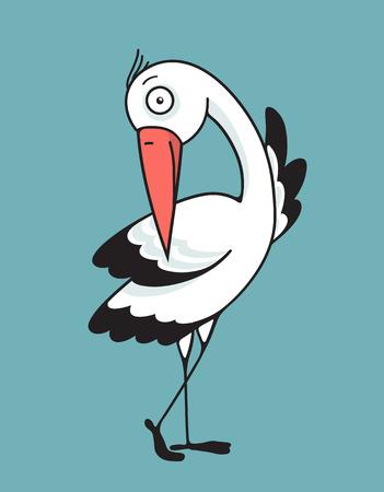 beak: Bird Stork Flat Design Character. Bird stork flat design. Mascot and wing, nature and beak, wildlife vector illustration