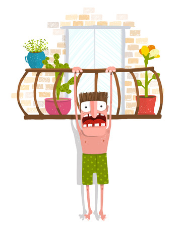 balcony: Man in underpants hanging over balcony. Caricature funny lover character illustration, scream and crying Illustration
