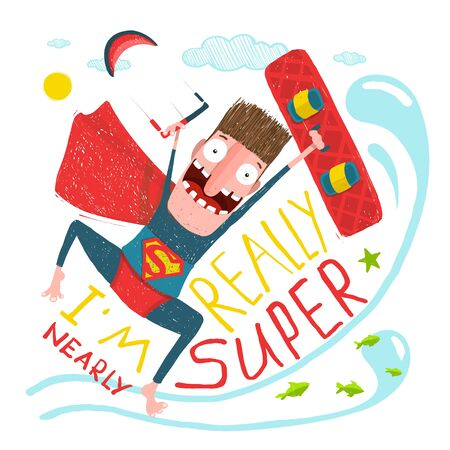 Kitesurfing caricature character happy jump. Hero funny humor illustration, kite and board