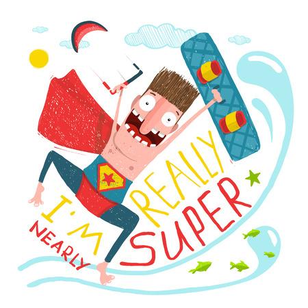 humor jump: Kitesurfing caricature character happy jump. Hero funny humor illustration, kite and board.