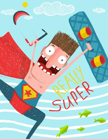 surf board: Kite surfing caricature cartoon card design. Hero funny humor illustration, kite and board.