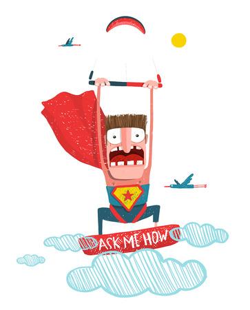 kite surfing: Scared kite boarding superhero cartoon in costume with kite. Caricature kite surfing.