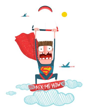 kite surfing: Scared kiteboarding superhero cartoon in costume with kite. Caricature kite surfing. Illustration