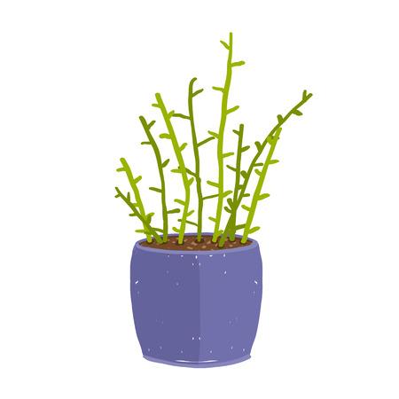 houseplant: Leaf and house gardening, flowerpot and flora isolated object, houseplant design isolated illustration Illustration