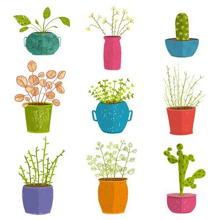 葉と家の園芸、植木鉢や植物分離オブジェクト、観葉植物デザイン コレクション イラスト