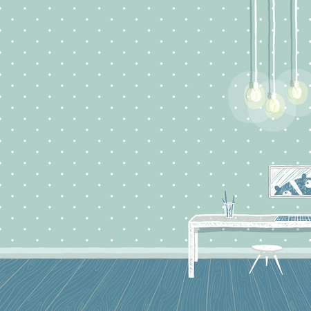 nursery room: Bedroom for kid, childhood and furniture, teddy bear and interior. Empty wall for your design.