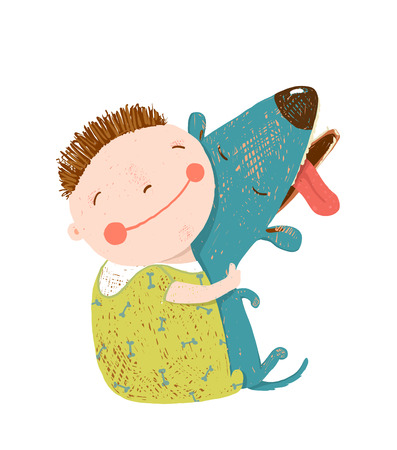 friend hug: Child happiness with friend animal, illustration. Illustration