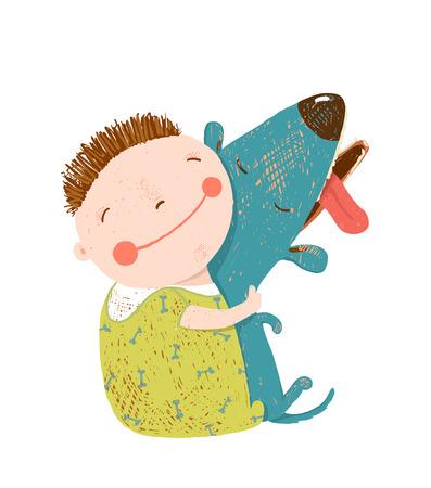 friend: Child happiness with friend animal, illustration. Illustration