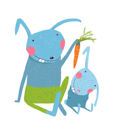 cartoon carrot: Animal parent bunny with kid, vegetarian vegetable eating, illustration Illustration