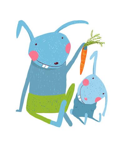 zanahoria caricatura: conejito padres animal con niño, comer vegetariano vehículo, ilustración Vectores