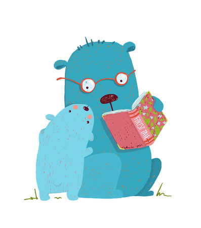 parent and child: Animal cartoon, teddy read and education, illustration