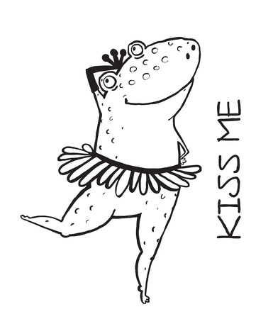 frog in love: Outline frog kiss me. Valentine animal love illustration, romantic character princess