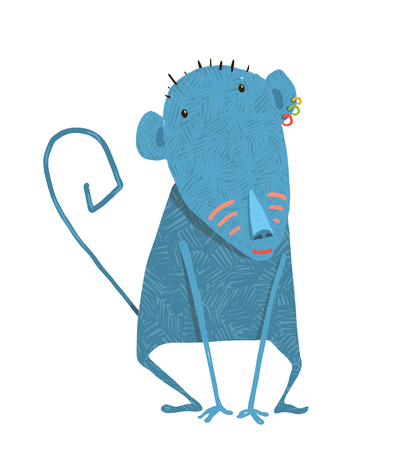 ape: Childish monkey cute . Cartoon ape, wild animal illustration.