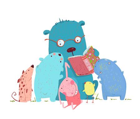 hipopotamo cartoon: educación de los niños y la lectura. aprendizaje de los niños, lectura del profesor del conocimiento literatura, la sabiduría de la escuela, ilustración. Vectores