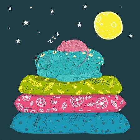 Grappige dieren slapen kinderachtig cartoon wenskaart ontwerp. Vector illustratie.