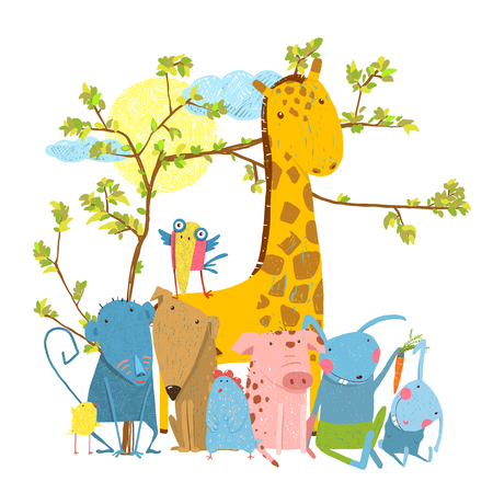 Funny zoo and farm animals sitting together under the tree. Vector illustration.