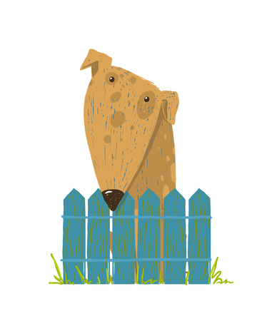 doggy: Cartoon countryside doggy friendly looking. Vector illustration.