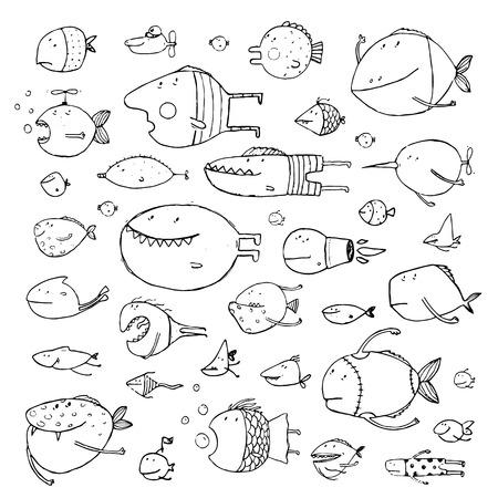 dessin au trait: main de bande dessinée Fun dessiné poissons queer pour les illustrations de conception des enfants fixés. Pencil style de croquis. EPS10 vecteur n'a pas de couleur d'arrière-plan.