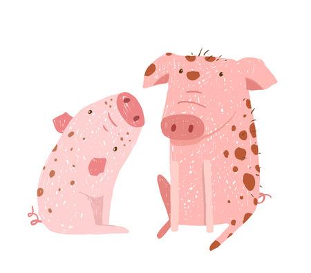 two animals: Two domestic animals childish hand drawn illustration. Vector cartoon.