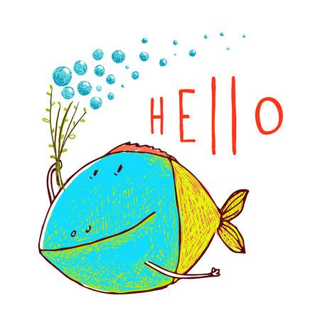 Spaß Cartoon Hand bunte Fische mit Blasen Schriftzug hallo gezeichnet. Bleistift-Stil. Vektor hat keine Hintergrundfarbe.
