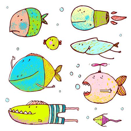 humor: Funny humor cartoon hand drawn brightly colored fish set. Pencil style. vector has no background color.