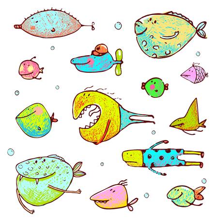 niños dibujando: divertidos dibujos animados de colores brillantes conjunto de dibujos de peces. estilo lápiz. vector no tiene color de fondo. Vectores