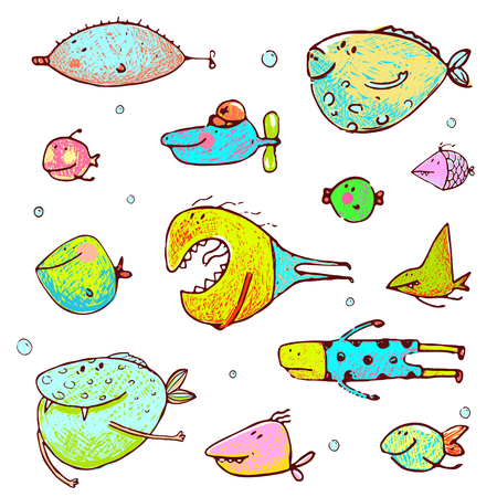 Funny cartoon brightly colored  fish drawing set. Pencil style. vector has no background color.