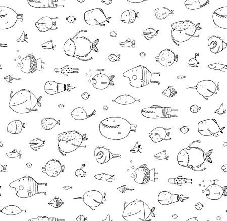 dessin au trait: Drôle poissons de bande dessinée modèle contour dessin toile de fond. le style Crayon. vecteur n'a pas de couleur d'arrière-plan. Illustration