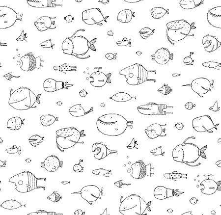 kids hand: Funny cartoon fish pattern outline drawing backdrop. Pencil style. vector has no background color.