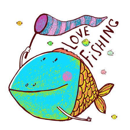 humorous: Humorous cartoon hand drawn colorful fish holding fishing net lettering love fishing. Pencil style. vector has no background color.