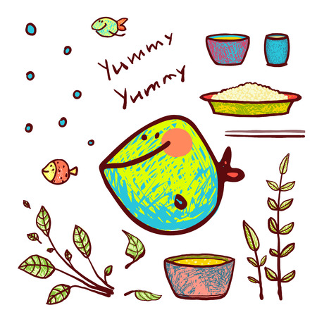 Hand drawn colorful fish and greens lettering yummy. Pencil style. vector has no background color.