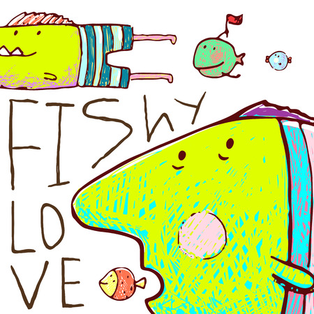 humorous: Humorous cartoon hand drawn colorful fish lettering fishy love. Pencil style. vector has no background color.