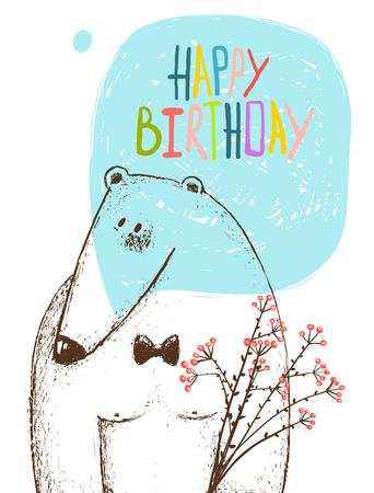 dessin fleur: Carte mignonne, animal en peluche conception, vacances carte postale, illustration vectorielle fond transparent. Illustration