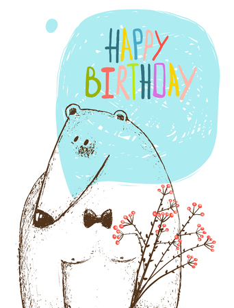 wish of happy holidays: Cute card, animal teddy design, postcard holiday, vector illustration transparent background. Illustration