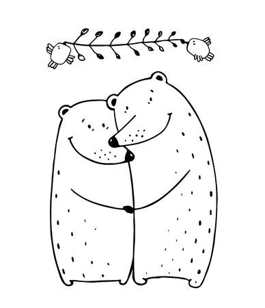 Lovers dating happy hugging romantic teddy valentine, vector illustration transparent background. 일러스트
