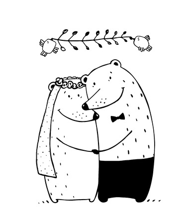romantic couples: Love happy romantic teddy, valentine bride marriage, vector illustration Illustration