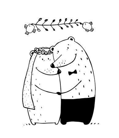 matrimonio feliz: Peluche del amor, San Valentín novia de la unión, ilustración vectorial romántica feliz Vectores