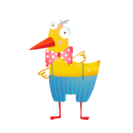 duckling: Yellow duckling birdie cartoon funny cute childish drawing. Transparent background vector.