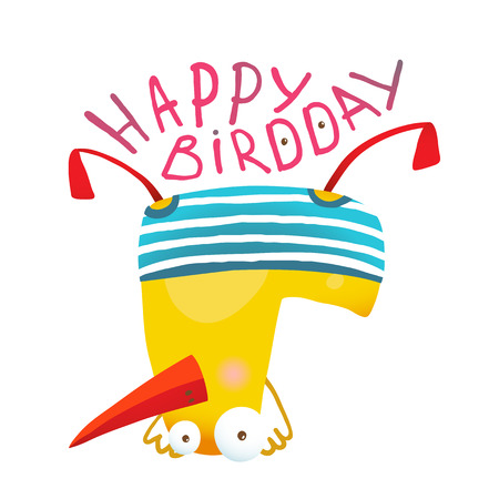 funny birthday: Yellow duckling birdie cartoon humorous childish adorable illustration. Transparent background vector. Illustration