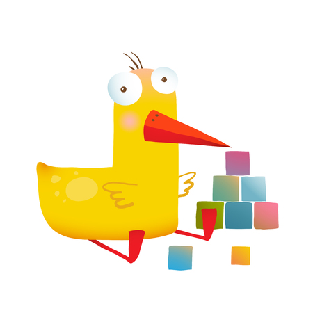 childish: Yellow duckling birdie cartoon funny childish adorable illustration. Transparent background vector.
